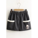 Women's Animal Embroidery Elastic Waist Woolen Shorts with Pockets