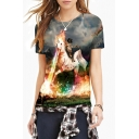Women's Fashion Digital Cat Knight Print Round Neck Short Sleeve Basic T-Shirt