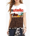 Women's Fashion Digital Letter Print Round Neck Short Sleeve Basic T-Shirt