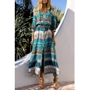 Women's V-Neck Buttons Down Tribal Print Beach Maxi Dress