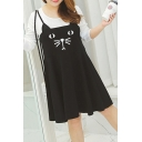 Cute Oversized Cat Face Printed Long Sleeve  Color Block A-line Dress