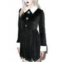 Women's Contrast Lapel and Cuffs A-Line Mini Dress with Buttons