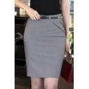 Office Lady High Rise Plain Slit Back Wrap Pencil Mini Skirt