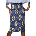 Women's Fashion Tribal Print High Rise Pencil Midi Skirt