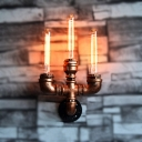 Aged Copper Metal Pipe Designed Indoor Sconces Rustic Hallway Wall Light