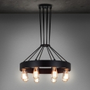 Wrought Iron Style 19 Inches Wide 8 Light Chandelier in Matte Black