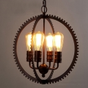 Industrial Vintage Style 4 Light Chandelier with Gear Shape in Black Finish