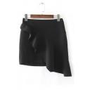 Women's Fashion Asymmetrical Ruffle Trim Plain Wrap Bodycon Mini Skirt