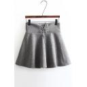 Women's Lace-Up Waist Solid Color A-Line Woolen Mini Skirt