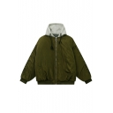 Women's Five-Point Star Embroidery Back Hooded Zip Placket Casual Coat