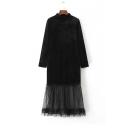 New Arrival Round Neck Long Sleeve Zip-Back  Mesh Hem Patchwork Plain Maxi Dress