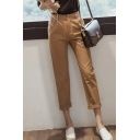 Women's Leisure Button Fly Closure Plain Skinny Pants