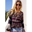 Women's V-Neck Flare Sleeve Bow Front Tribal Floral Print Casual Blouse