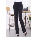 Women's Winter's High Rise Cigarette Trousers Plain Office Lady Casual Pants