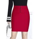 Office Lady High Rise Plain Buttons Down Front Wrap Pencil Mini Skirt