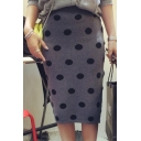 Women's High Rise Polka Dot Print Knit Midi Pencil Skirt