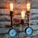 Novel Industrial Three Light Indoor Pipe Sconce with Gauge Accent