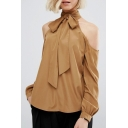 New Style Women's High Neck Tie Front Cold Shoulder Long Sleeve Plain Basic Blouse