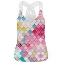 New Trendy Multi Straps Crisscross Back Plaid Color Block Cami Top