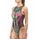 Women's Zip Back Tulle Round Neck Sleeveless Sexy One Piece Bikini
