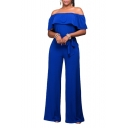 Women's Sexy Off Shoulder High Waist Wide Leg Jumpsuits Rompers Pants