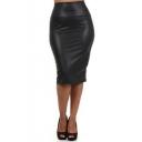 Faux Leather Pencil Skirt Below Knee Length Skirt Midi Bodycon Skirt