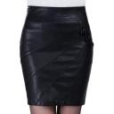 Sexy Fashion Plain Zip Side Leather Mini Bodycon Skirt