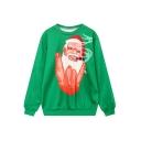 Funny Smoking Santa Claus Cartoon Printed Pullover Sweatshirt with Round Neck