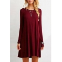 Fashion Round Neck Long Sleeve Plain Mini T-Shirt Dress