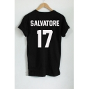 SALVATORE 17 Letter Printed in Back Short Sleeve Round Neck Tee