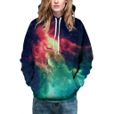 Hot Fashion Digital Fire Galaxy Printed Long Sleeve Baseball Hoodie for Couple