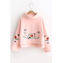 Fashion Butterfly Embroidery Mock Neck Long Sleeve Casual Sweatshirt