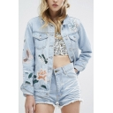 Fashion Lapel Single Breasted Embroidery Butterfly Floral Pattern Denim Coat