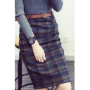 Women's Belt Waist Classic Plaid Print Woolen Midi Pencil Skirt
