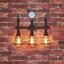 Rustic 3-Light Pipe Designed Metal Indoor Wall Light with Wire Cage Shade