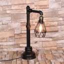 Vintage 1-Light Metal Frame Shade Table Light in Black Finish