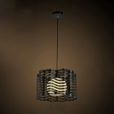 Modern Black 12 Inches Wide Single Light Pendant with Slatted