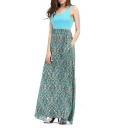 Women's Summer Contrast Sleeveless Tank Top Floral Print Maxi Dress
