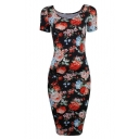 Women's Floral Short Sleeve Midi Dress