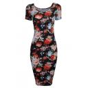Women's Floral Short Sleeve Midi Dress