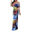 Elegant Leaves Off Shoulder Ruffle Bodycon Long Party Maxi Dress