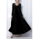 Elegant V-Neck Long Sleeve Plain Maxi A-Line Dress