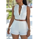 Women's Sexy Sleeveless Plunge V Neck Belted Short Jumpsuit Rompers