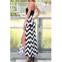 Sexy Patchwork Zig Zag Striped Color Block Split Sides Cami Maxi Dress