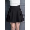 Popular High Waist Plain Mini A-Line Skirt