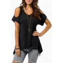 Sexy Cold the Shoulder Round Neck Short Sleeve Handkerchief Hem Tunic Tee