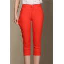 Women's High Waist Zip Fly Casual Solid Color Capri Pants