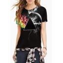Women's Fashion Digital Print Round Neck Short Sleeve Basic T-Shirt