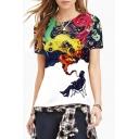Women's Fashion Digital Thinker Print Round Neck Short Sleeve Basic T-Shirt