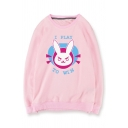Cute Cartoon Rabbit Letter Printed Round Neck Pullover Sweatshirt